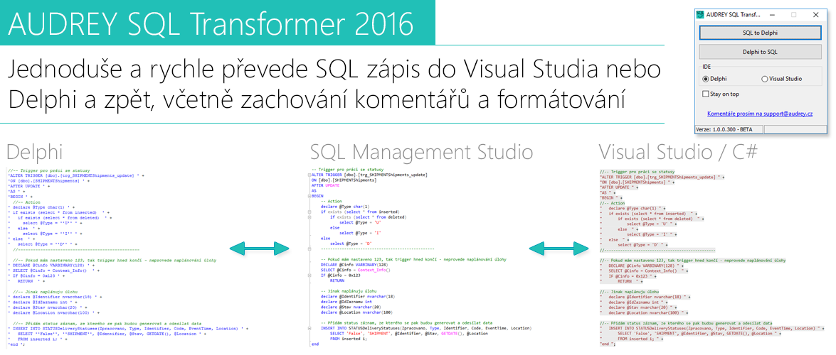 AUDREY SQL Transform 2016